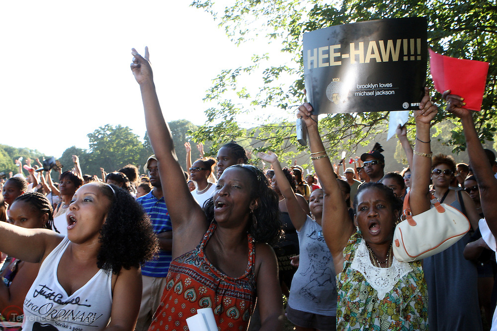 "29 August 2010-New York, NY- Fans at "" The King of Pop "" Birthday celebration for Michael Jackson Presented by Spike DDB and Forty Acres and A Mule Fiilmworks and held in Prospect Park on August 29, 2010 in the Republic of Brooklyn."