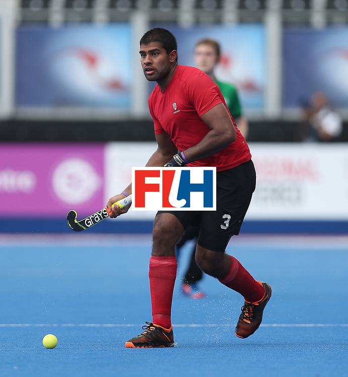 LONDON, ENGLAND - JUNE 17:  Brandon Pereira of Canada during the Hero Hockey World League semi final match between Canada and India at Lee Valley Hockey and Tennis Centre on June 17, 2017 in London, England.  (Photo by Alex Morton/Getty Images)