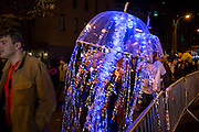 New York, NY - October 31, 2015. A jellyfish in the Greenwich Village Halloween Parade.