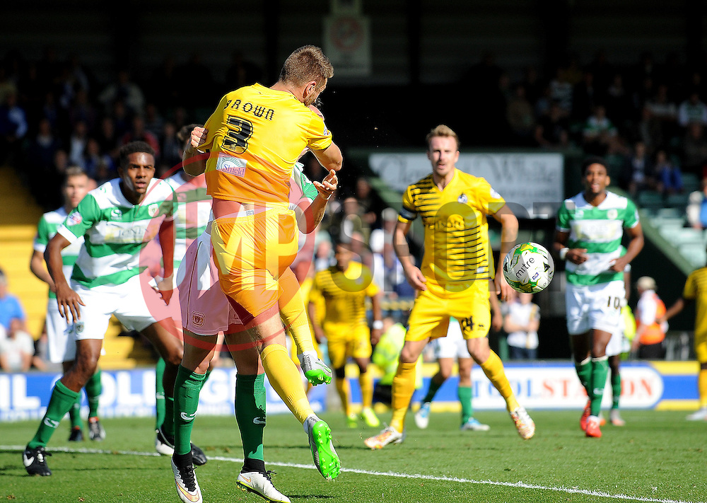 Lee Brown of Bristol Rovers knocks the ball down for Ellis Harrison to score the winner - Mandatory byline: Neil Brookman/JMP - 07966386802 - 15/08/2015 - FOOTBALL - Huish Park -Yeovil,England - Yeovi Town v Bristol Rovers - Sky Bet League One