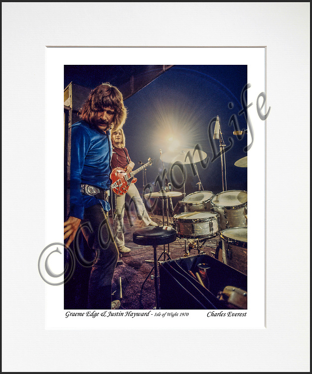 Graeme Edge and Justin Hayward - An affordable archival quality matted print ready for framing at home.<br />