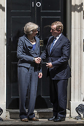 Downing Street, London July 26th 2016. Irish Taoiseach Enda Kenny is the first foreign leader to arrive in Downing Street since Theresa May became Prime Minister is welcomed by Mrs May for talks centred around economic and border issues arising from Brexit. <br /> &copy;Paul Davey<br /> FOR LICENCING CONTACT: Paul Davey +44 (0) 7966 016 296 paul@pauldaveycreative.co.uk