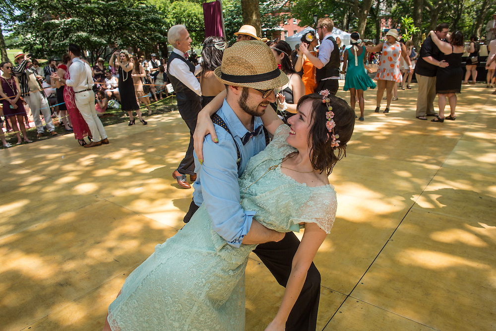 A couple dancing to the Dreamland Orchestra.