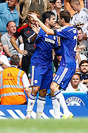 Diego Costa of Chelsea celebrates scoring his team's first goal to make it 1-1 against Swansea Citywith Nemanja Matić of Chelsea (right) during the Barclays Premier League match at Stamford Bridge, London<br /> Picture by David Horn/Focus Images Ltd +44 7545 970036<br /> 13/09/2014