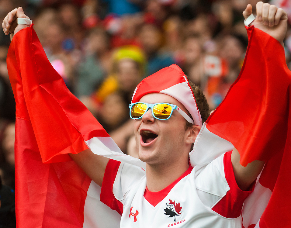 A Canada fan celebrates during the pool stages of the 2016 Canada Sevens leg of the HSBC Sevens World Series Series at BC Place in  Vancouver, British Columbia. Saturday March 12, 2016.<br /> <br /> Jack Megaw<br /> <br /> www.jackmegaw.com<br /> <br /> 610.764.3094<br /> jack@jackmegaw.com