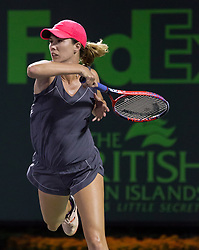 March 28, 2018 - Key Biscayne, Florida, United States - Danielle Collins, from the US, in action against in actioin Miami, on March 28, 2018. (Credit Image: © Manuel Mazzanti/NurPhoto via ZUMA Press)