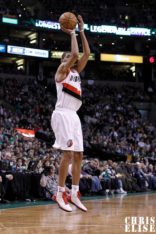 09 March 2012:  Portland Trailblazers forward Nicolas Batum takes a jumpshot during the Boston Celtics 104-86 victory over the Portland Trail Blazers at the TD Banknorth Garden, Boston, Massachusetts, USA.