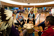 The Ho-Chunk Nation Singers and Dancers perform at the Cap Times 2017 Idea Fest in the Discovery Center, Saturday, September 16, 2017