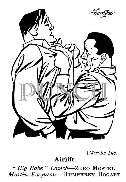Punch cartoons by Robert Sherriffs..Film Review ; ..Murder Inc : Humphrey Bogart and Zero Mostel