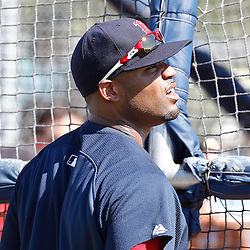 February 19, 2011; Fort Myers, FL, USA; Boston Red Sox left fielder Carl Crawford watches batting practice during spring training at the Player Development Complex.  Mandatory Credit: Derick E. Hingle