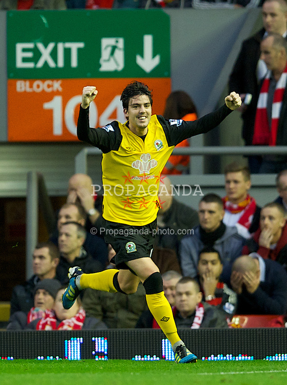 LIVERPOOL, ENGLAND - Boxing Day Monday, December 26, 2011: Blackburn Rovers' Mauro Formica celebrates after Liverpool's Charlie Adam scored an own-goal during the Premiership match at Anfield. (Pic by David Rawcliffe/Propaganda)
