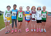 21 Aug 2016:  U8 Girls 60m finalists.  2016 Community Games National Festival 2016.  Athlone Institute of Technology, Athlone, Co. Westmeath. Picture: Caroline Quinn