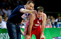 David Blatt, head coach of Russia and  Sergey Bykov of Russia during basketball game between National basketball teams of F.Y.R. of Macedonia and Russia of 3rd place game of FIBA Europe Eurobasket Lithuania 2011, on September 18, 2011, in Arena Zalgirio, Kaunas, Lithuania. (Photo by Vid Ponikvar / Sportida)