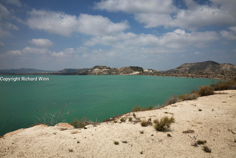 The artificial reservoir of Embalse de La Pedrera near Torremendo, in the Alicante region of the Valencian Community on the Costa Blanca.