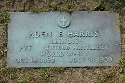 31 August 2017:   Veterans graves in Park Hill Cemetery in eastern McLean County.<br /> <br /> Aden E Harris  Illinois  Private  4 Field Artillery  World War I  Dec 14 1892  July 28 1959