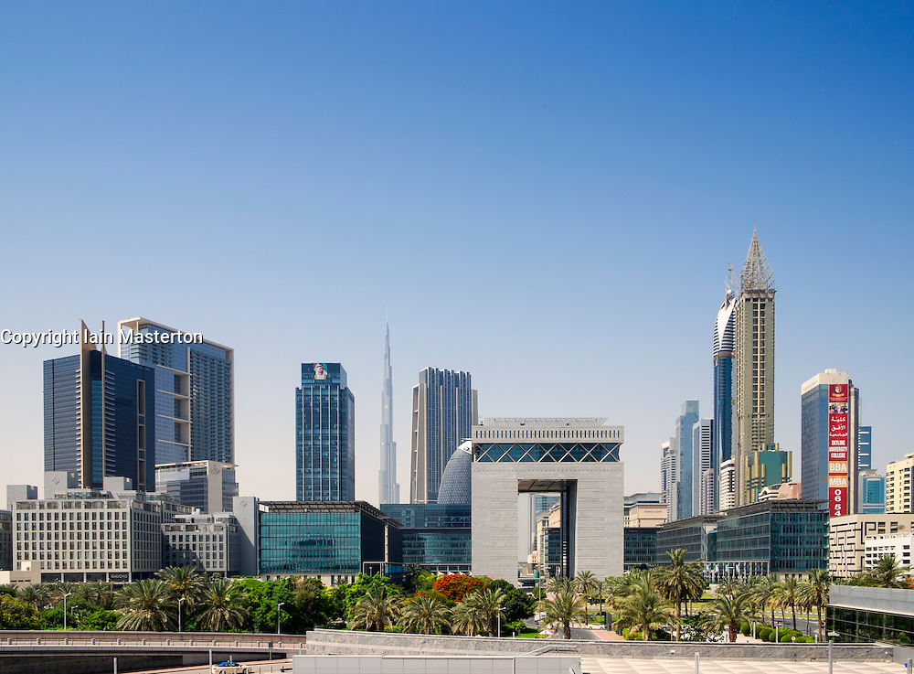 View of DIFC and financial and business district of Dubai United Arab Emirates