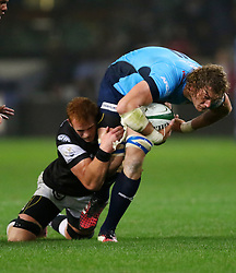 Phillip van der Walt of the Sharks tackles RG Snyman during the Currie Cup match between the The Sharks and The Blue Bulls held at King's Park, Durban, South Africa on the 27th August 2016<br /> <br /> Photo by:   Anesh Debiky / Real Time Images