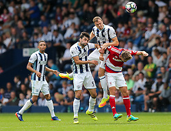 Jonny Evans of West Bromwich Albion clears - Rogan Thomson/JMP - 28/08/2016 - FOOTBALL - The Hawthornes - West Bromwich, England - West Bromwich Albion v Middlesbrough - Premier League.