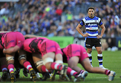 Gavin Henson of Bath Rugby watches a scrum - Photo mandatory by-line: Patrick Khachfe/JMP - Mobile: 07966 386802 01/11/2014 - SPORT - RUGBY UNION - Bath - The Recreation Ground - Bath Rugby v London Welsh - LV= Cup