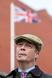 © Licensed to London News Pictures. 11/11/2019. Hartlepool UK. Brexit party leader Nigel Farage at Hartlepool war memorial on Armistice day before he & Brexit party chairman Richard Tice speak at the Best Western Grand Hotel in Hartlepool today as part of their General Election campaign. Photo credit: Andrew McCaren/LNP