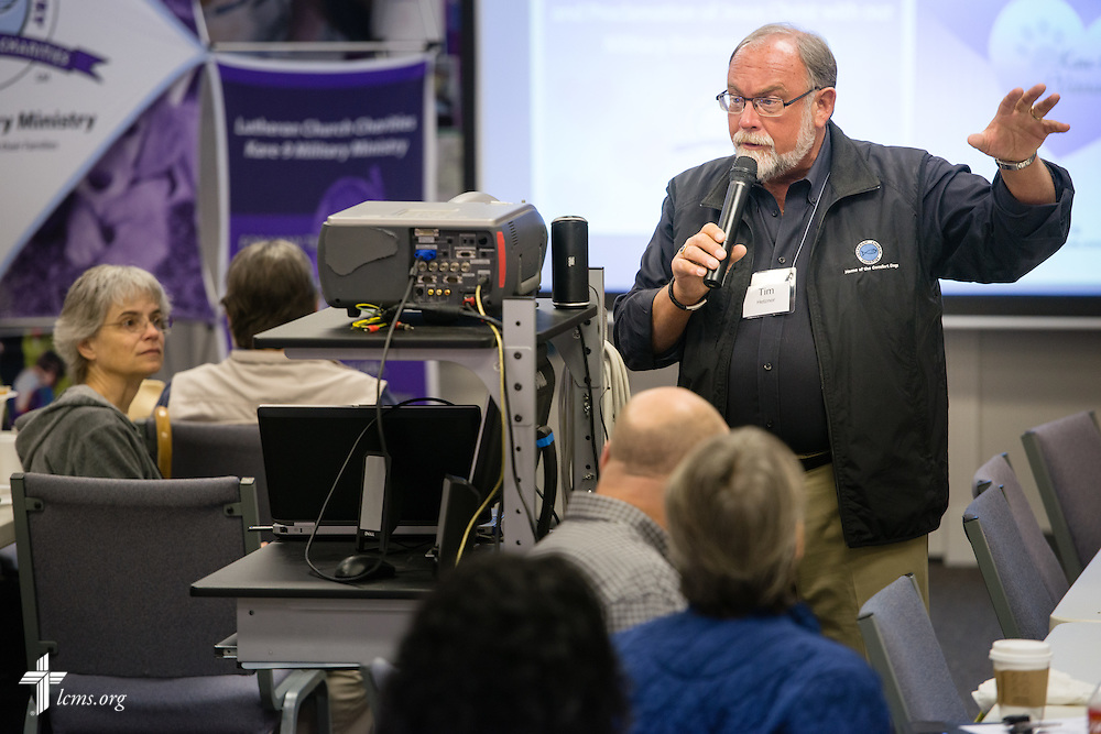 Tim Hetzner, Lutheran Church Charities president, talks about the LCC Kare-9 program during the 2015 Operation Barnabas Conference on Tuesday, Feb. 10, 2015, at Mount Calvary Lutheran Church in San Antonio, Texas.  LCMS Communications/Erik M. Lunsford