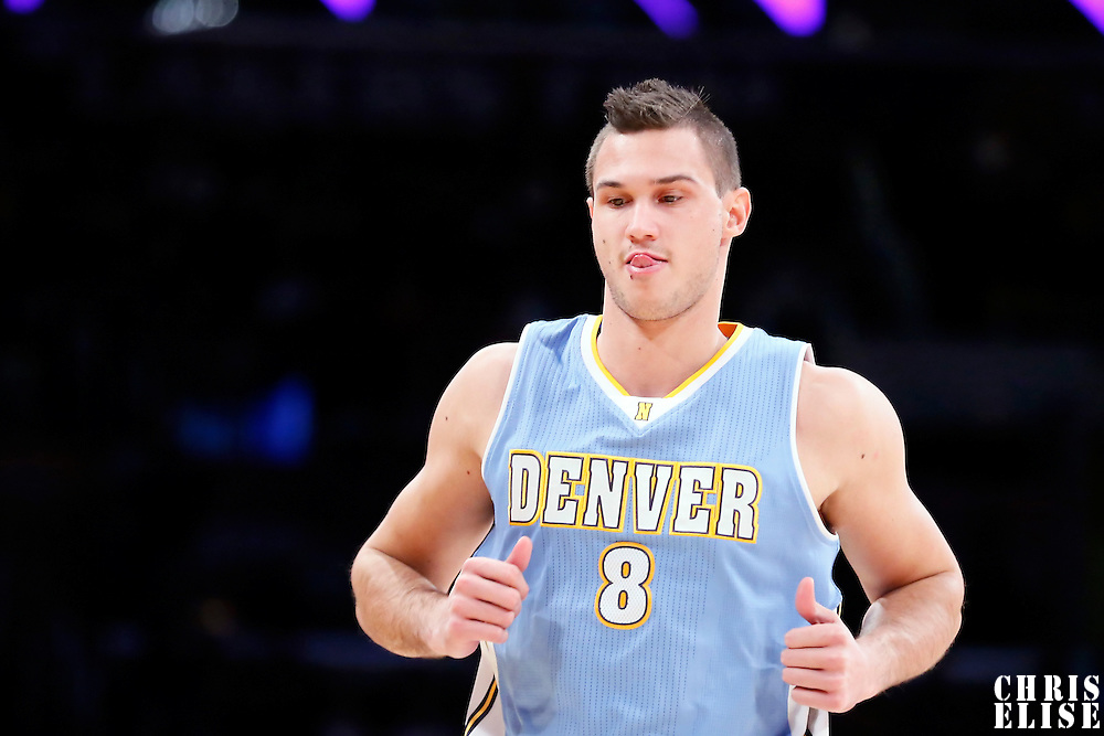 23 November 2014: Denver Nuggets forward Danilo Gallinari (8) is seen during the Denver Nuggets 101-94 overtime victory over the Los Angeles Lakers, at the Staples Center, Los Angeles, California, USA.