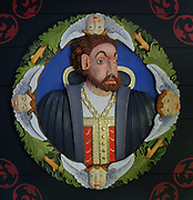 King Charles V, 1500-58, 1 of the 37 carved and painted Stirling Heads on the ceiling of the King's Inner Hall, used for audiences with ambassadors, courtiers and nobles, in Stirling Castle, with current buildings dating to 15th and 16th centuries, on Castle Hill, in Stirling, Scotland. The heads depict both real and legendary figures. The castle is listed as a scheduled ancient monument and is run by Historic Environment Scotland. Picture by Manuel Cohen
