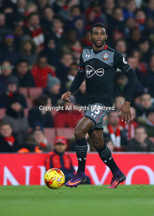 30.11.2016. Emirates Stadium, London, England. EFL Cup Football, Quarter Final. Arsenal versus Southampton. Southampton Defender Cuco Martina looks to cross the ball into the Arsenal area