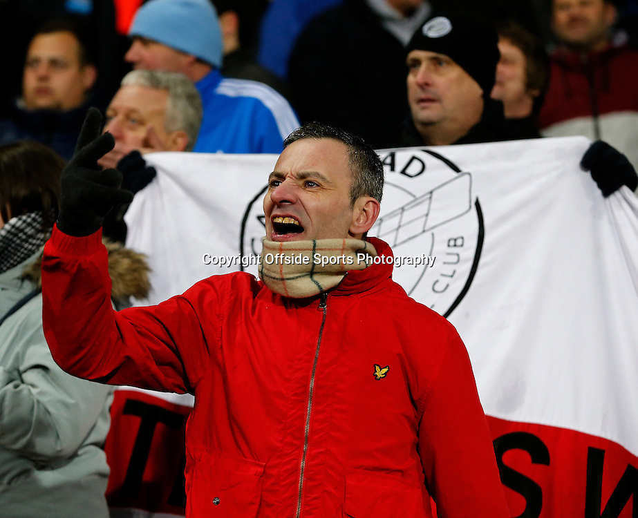 3rd January 2015 - FA Cup 3rd Round - West Bromwich Albion v Gateshead - A Gateshead fan shouts after a foul against his side - Photo: Paul Roberts / Offside.