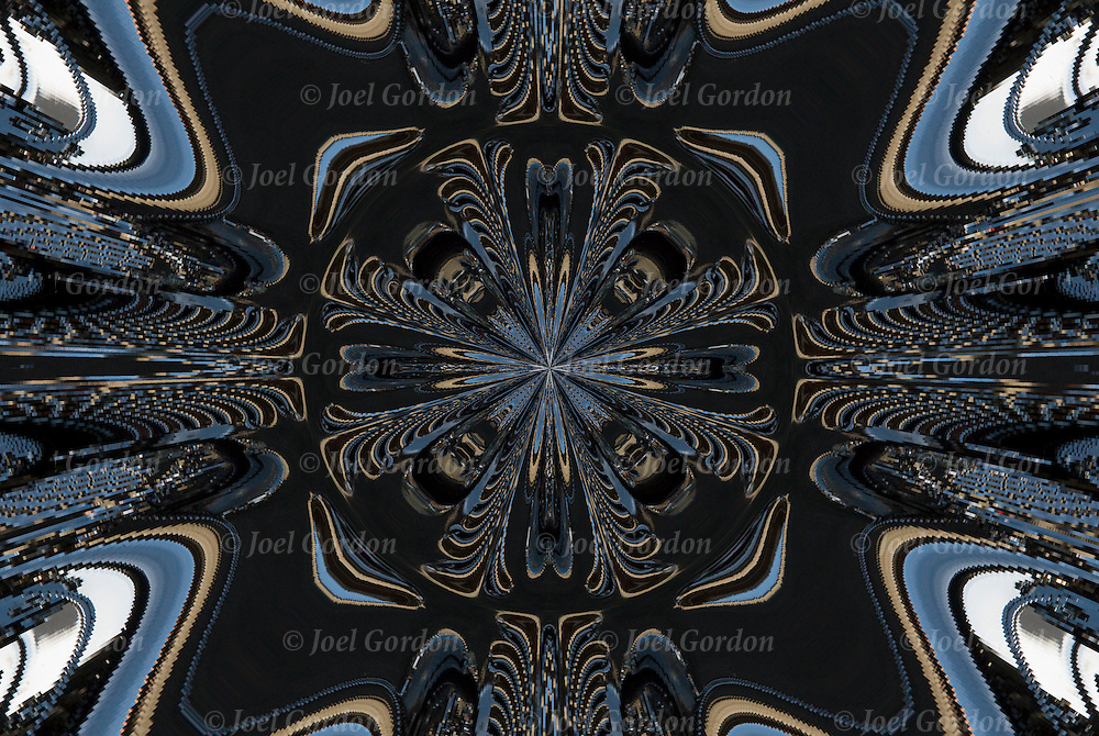 Kaleidoscope abstract close up of Harley-Davidson Motorcycle.