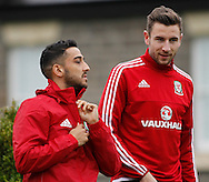 Neil Taylor (L) during the Wales Training at the Vale Resort, Hensol<br /> Picture by Mike Griffiths/Focus Images Ltd +44 7766 223933<br /> 10/11/2015