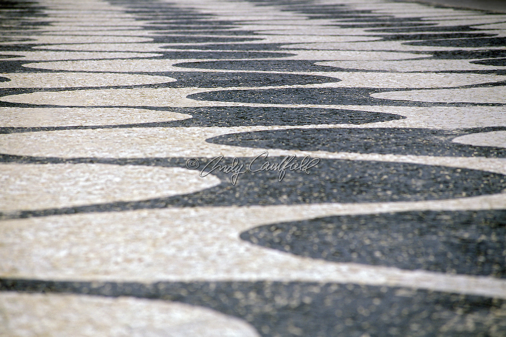 "Black and white sidewalk tiles in ""Copacabana ""design by Burle Marx, Rio de Janeiro, Brazil"