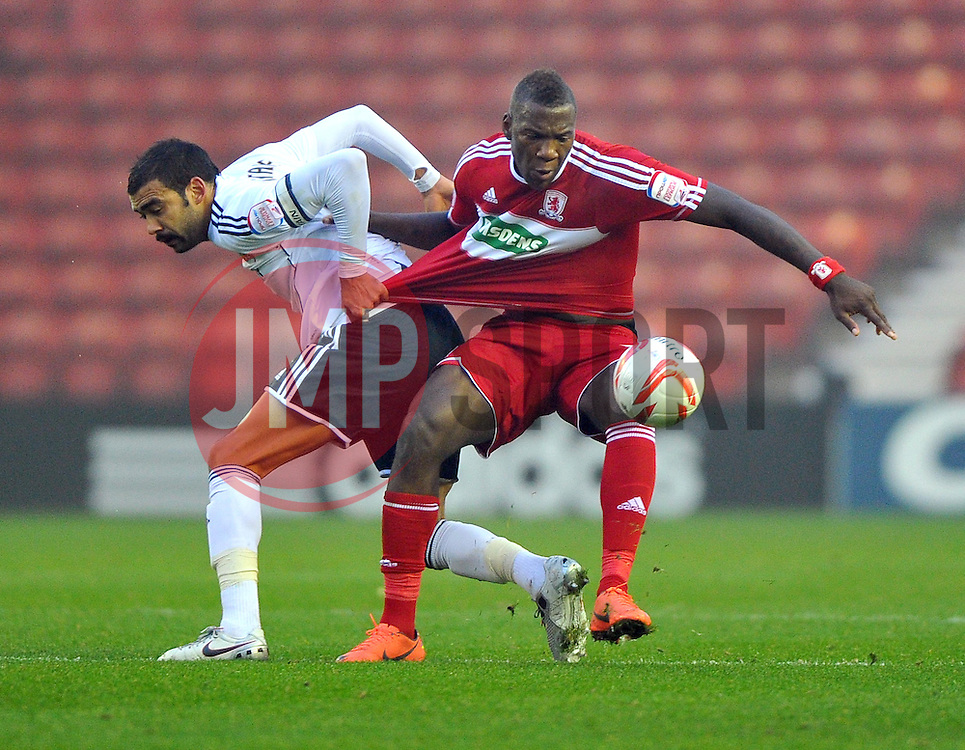 Bristol City Captain, Liam Fontaine battles for the ball with Middlesbrough's Ishmael Miller - Photo mandatory by-line: Joe Meredith/JMP  - Tel: Mobile:07966 386802 24/11/2012 - Middlesbrough v Bristol City - SPORT - FOOTBALL - Championship -  Middlesbrough  - River Side Stadium