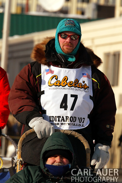 3/3/2007:  Anchorage Alaska -  Veteran Aaron Burmeister of Nome/Nenana, AK during the Ceremonial Start of the 35th Iditarod Sled Dog Race
