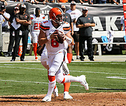 Sep 30, 2018; Oakland, CA, USA;  Cleveland quarterback Baker Mayfield (6) drops back to pass during his first NFL start in a game between the Oakland Raiders and the Cleveland Browns. The Raiders defeated the Browns 45-42 in overtime. Mandatory Credit: Spencer Allen-Image of Sport