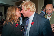 TRACEY EMIN; BORIS JOHNSON, Drinks soiree and silent auction of Ô100 ThingsÕ,  hosted by the Mayor of London Boris Johnson, in aid of the Legacy List. 50 St. James. London. 2 November 2011. <br /> <br />  , -DO NOT ARCHIVE-© Copyright Photograph by Dafydd Jones. 248 Clapham Rd. London SW9 0PZ. Tel 0207 820 0771. www.dafjones.com.<br /> TRACEY EMIN; BORIS JOHNSON, Drinks soiree and silent auction of '100 Things',  hosted by the Mayor of London Boris Johnson, in aid of the Legacy List. 50 St. James. London. 2 November 2011. <br /> <br />  , -DO NOT ARCHIVE-© Copyright Photograph by Dafydd Jones. 248 Clapham Rd. London SW9 0PZ. Tel 0207 820 0771. www.dafjones.com.