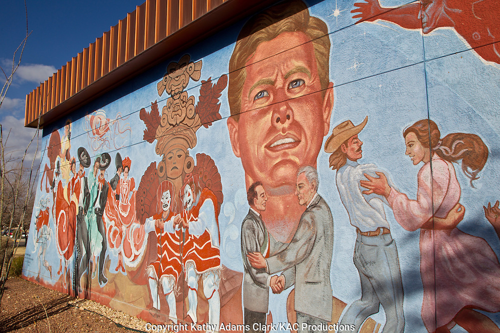 Mural at Chamizal National Memorial a park to commemorate the Chamizal Convention, or treaty, of 1963 that gave land to Mexico after the Rio Grande changed its course.  Mural by Carlos Flores, entitled Our Heritage, shows John F. Kennedy, dancers, and Native American heritage.