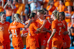 01-06-2019 NED: Netherlands - Australia, Eindhoven<br /> <br /> Friendly match in Philips stadion Eindhoven. Netherlands win 3-0 / Vivianne Miedema #9 of The Netherlands score 2-0, Lieke Martens #11 of The Netherlands, Merel van Dongen #4 of The Netherlands, Shanice van de Sanden #7 of The Netherlands, Stefanie van der Gragt #3 of The Netherlands, Sherida Spitse #16 of The Netherlands