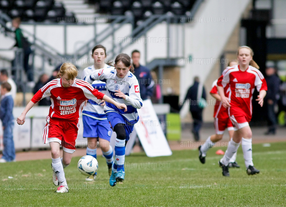 20100509                 Copyright image 2010©.Chester le street Cestria U14 v QPR Girls U14.Tesco Football Cup, English National Final at Pride Park, Derby City.Mandatory Credit Ant Upton otherwise additional charges will apply..For photographic enquiries please call Anthony Upton 07973 830 517 or email info@anthonyupton.com .This image is copyright Anthony Upton 2010©..This image has been supplied by Anthony Upton and must be credited Anthony Upton. The author is asserting his full Moral rights in relation to the publication of this image. All rights reserved. Rights for onward transmission of any image or file is not granted or implied. Changing or deleting Copyright information is illegal as specified in the Copyright, Design and Patents Act 1988. If you are in any way unsure of your right to publish this image please contact Anthony Upton on +44(0)7973 830 517 or email: