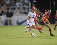 Ole Miss' Samantha Sanders (2) vs. Memphis' Valerie Sanderson (9) in soccer action at the Ole Miss Soccer Stadium in Oxford, Miss. on Sunday, September 15, 2013. Ole Miss won 3-0.