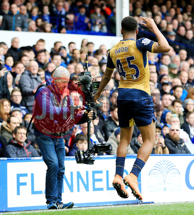 Arsenal's Alex Iwobi celebrates after scoring his sides second goal  - Mandatory byline: Matt McNulty/JMP - 19/03/2016 - FOOTBALL - Goodison Park - Liverpool, England - Everton v Arsenal - Barclays Premier League