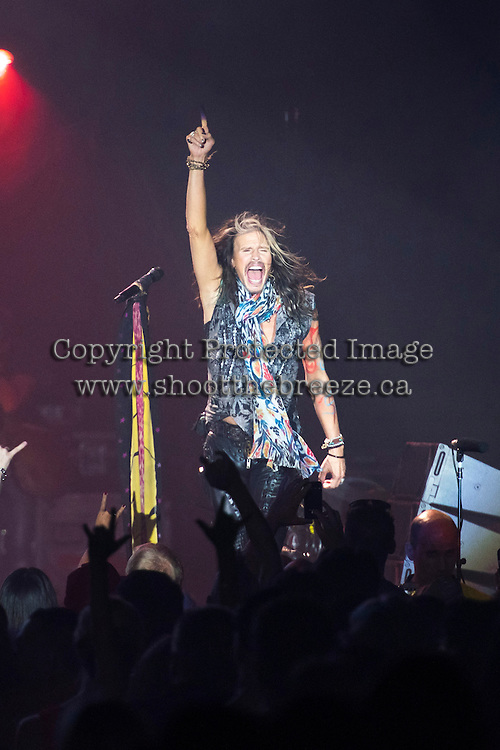 Steven Tyler of Aerosmith performs on stage in Kelowna, B.C. at Prospera Place on July 13, 2015.