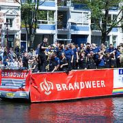 NLD/Amsterdam//20170805 - Gay Pride 2017, Boot Brandweer Nederland