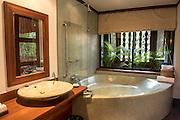The bathroom area of a suite at the Belmond La Résidence d'Angkor hotel in Siem Reap.