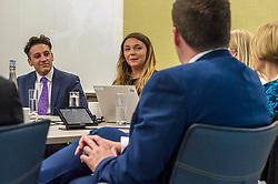 Pictured: Ruairidh Kilgour and Kate Eltringham give Mr Hepburn their views on their experience<br /> <br /> Minister for Employability and Training Jamie Hepburn visited Ernst and Young (EY) in Edinburgh today (15 May) to comment on the latest Labour Market statistics.  While there Mr Hepburn met apprentices Ruairidh Kilgour and Kate Eltringham, Laura Sleigh and Emma Jones, EY Recruitment and Margaret Gibson, OBE, EY Foundatio Scotland Hub Leader.<br /> <br /> Ger Harley | Edinburgh Elite Media