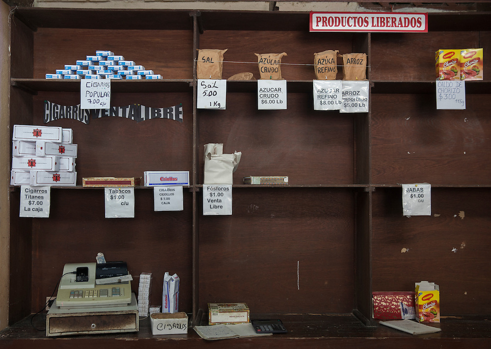Detail of the almost empty shelves at a liberated products store in Havana, Cuba.<br />