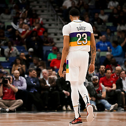 Feb 12, 2019; New Orleans, LA, USA; New Orleans Pelicans forward Anthony Davis (23) walks to the opposite end of the court during the second half against the Orlando Magic at the Smoothie King Center. Mandatory Credit: Derick E. Hingle-USA TODAY Sports