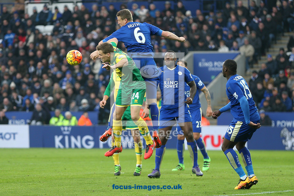 Ryan Bennett of Norwich and Robert Huth of Leicester City in action during the Barclays Premier League match at the King Power Stadium, Leicester<br /> Picture by Paul Chesterton/Focus Images Ltd +44 7904 640267<br /> 27/02/2016