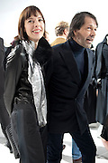 ANNA BLESMAN; PETER SAVILE, Yohji Yamamoto exhibition opening. V & A Museum. London. 10 March 2011. -DO NOT ARCHIVE-© Copyright Photograph by Dafydd Jones. 248 Clapham Rd. London SW9 0PZ. Tel 0207 820 0771. www.dafjones.com.