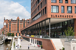View of Elbtorpromenade and Elbarkaden new property developments in Hafencity Hamburg Germany
